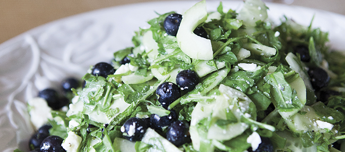 Cucumber, Blueberry, Arugula Salad