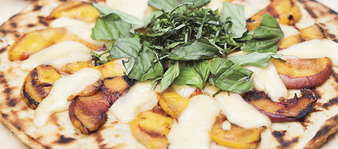 Grilled Peach, Brie, Basil Flatbread